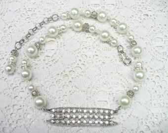 OOAK Vintage 1940s Art Deco Rhinestone & PEARL Assemblage Necklace - silver tone metal - Bridal necklace - adjustable - pot metal- Bridal