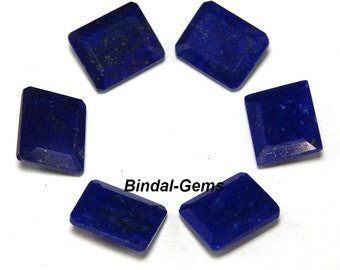 25 Pieces Lot Natural Lapis Lazuli Octagon Faceted Cut Gemstone For Jewelry