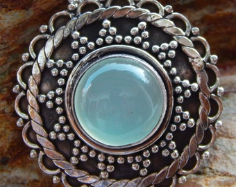 Natural Aqua Chalcedony 925 Sterling Silver Gemstone Pendant
