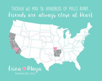 Long Distance Friendships, Glitter Map, Pink, Blue, Silver - Gifts for Child Friends, Memories, BFF, Girls, Daughters Friend | WF128