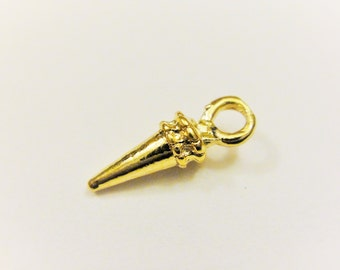 Vermeil, 18k Gold over 925 sterling silver Mini Spike Charm, shiny gold small sharp spike thorn, vermeil spike