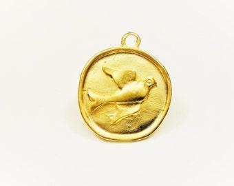 Vermeil, 18k gold over 925 sterling silver round disc with bird, matte gold bird disc, vermeil bird