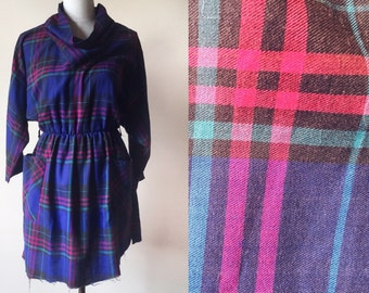 Vintage plaid dress // 90s dress // vintage blue and purple checkered dress
