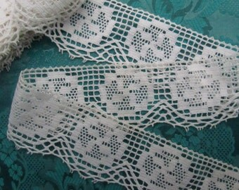 Vintage French crocheted lace, great for Crazy Quilt blocks , a shabby chic project or  to decorate a towel or cushion
