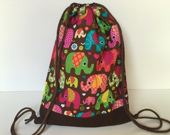 Cinch Bag 'Flower Power Elephants'