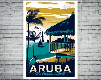 Aruba Retro Vintage Travel Poster