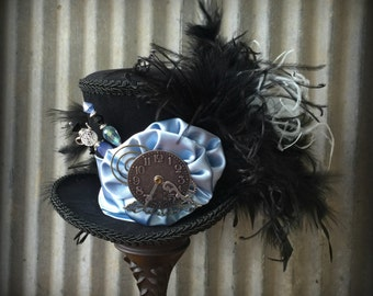 Mini Top Hat, White Rabbit, Blue and Black hat, Alice in Wonderland Hat, Mad Hatter Hat, Steampunk Mini Top Hat, Kentucky Derby, Tea Party