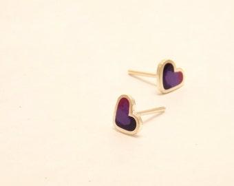 Heart stud earrings -  Sterling Silver Ear Studs - Purple -  Heart earrings -  Spring - Summer  - Valentine's Day