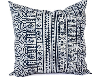 Two OUTDOOR Pillows - Navy and White Pillow Cover - Navy Blue Throw Pillow Cover - Aztec Pillow - Blue Tribal Pillow - Navy Patio Pillow