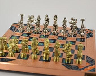 Hercules chess set (20X20) Copper chess board