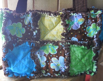 Rag Quilt Purse tote bag floral brown blue yellow green purple magnetic snap pockets