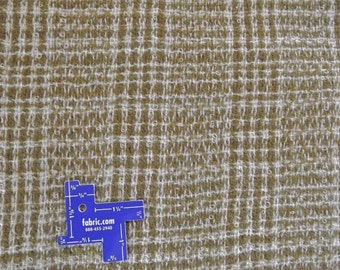 "Vtg WOOL BOUCLE FABRIC~Plaid:Olive Green+Ivory~Mohair blend?~2yX55""~sew crafts++"
