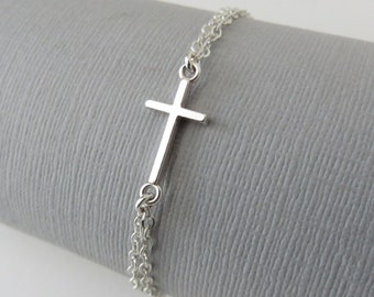 Cross Bracelet, First Communion gift, sideways cross bracelet, Confirmation gift, sterling silver, dainty cross jewelry, religious