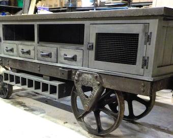 Urban Industrial Age Railroad Cart Kitchen Island/Bar