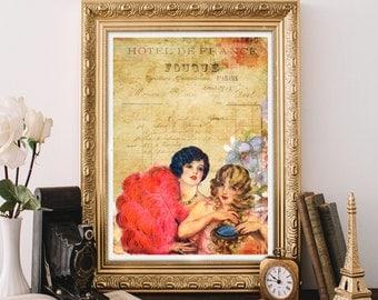 French women vintage style art print