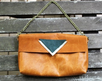Leather Purse with Geometric Detail and Chain
