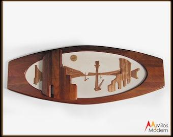 "60s Belart Co. Large Walnut Wood Surfboard Wall Hanging Sculpture Coliseum 48"""