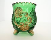 """EAPG Riverside Glass Emerald """"Croesus"""" Toothpick Holder 100+ years old"""