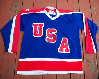 Vintage Cooper Team USA Olympics Miracle on Ice Hockey #9 Broten Jersey Size XL Made in Canada