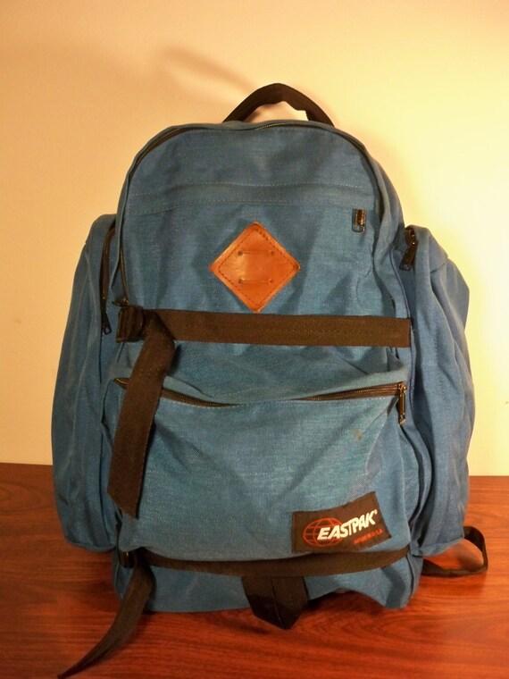 Leather Eastpak Backpack: Vintage Eastpak Blue Canvas & Brown Leather Camping By