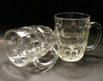 Vintage Set Of 2 Dimpled Pint Glasses (158-1)
