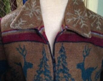 Vintage 80s Southwest Blanket Jacket Coat Bohemian Hippie Boho Wooded River 80s Oversized Wool Medium