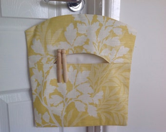 Pretty Fabric Peg Bag, Clothespin Bag, Ashley Wilde 'Hawthorne' Dijon Fabric, Laundry Bag