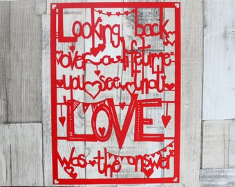 Love was the answer paper cut out
