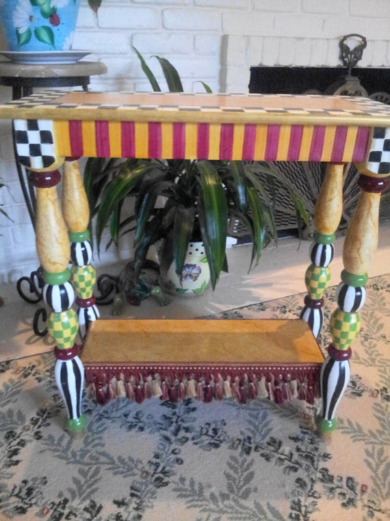Mackenzie Childs Inspired Courtly Check Accent Table Hand