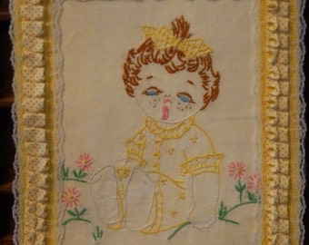 Vintage Baby Embroidery on Canvas
