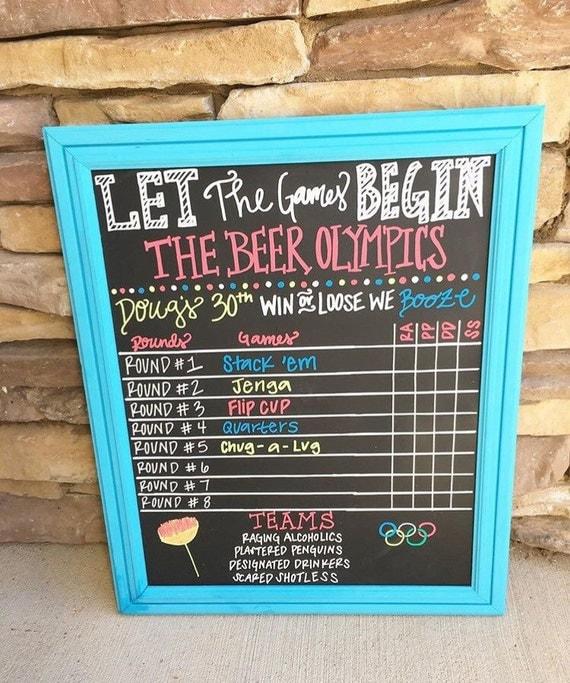 Chalkboard Beer Pong Score Board Birthday Chalkboard Olympic