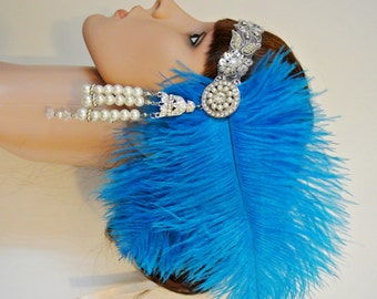 1920's Headpiece ,Turquoise Headpiece feather flapper style headpiece, 1920s hairband, Gatsby Headpiece,Prom Headband, Prom headpiece