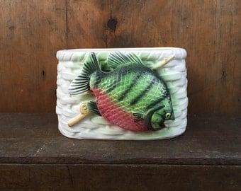 Nancy Pew Fish on Creel Basket Vintage Ceramic Planter Raised Fish Reel