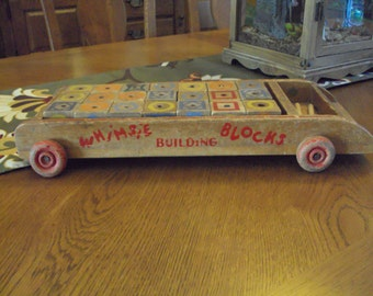 Vintage Whimsie Building Blocks and Wagon Set