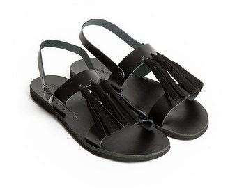 THALATTA BLACK TASSELS,black  leather tassels sandals handcrafted in Greece