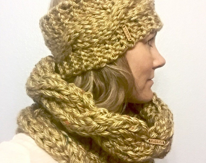 SALE! Golden Yellow with Multicolor Flecks Chunky Cable Knit Head Wrap, Neutral Ear Warmers