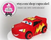 Fondant Lightning McQueen cake topper