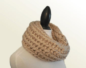 Squishy Infinity Scarf Cowl Tan Mushroom Infiniti Scarf Wool Super Chunky Light Tan Infinity Scarf Ready to Ship Fashion Statement Scarf