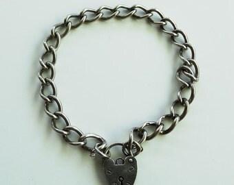 Vintage Edwardian Style Ladies Sterling Silver Link Bracelet with Heart Padlock FREE POSTAGE