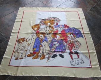 Vintage BURBERRY Pure silk Teddy bear and doll design scarf - The Burberry Family - Made in Italy