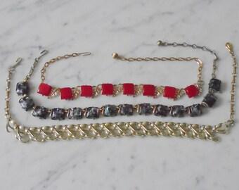 3 Vintage Hook Necklaces - 2 Coro - Marbelized Red, Black Speckle & Gold Tone Metal