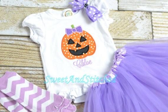 Girly Pumpkin Shirt personalized, girl pumpkin tee, girls Halloween outfit - embroidered pumpkin shirt - Girls Fall Halloween Outfit