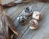 Made to order - Pair Rustic Roses, black and white or ivory, polymer clay rose bead, stylized folk art rose, earthy, neutral art beads