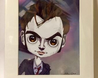 """David Tennant, Dr Who, Tenth Doctor 11x14"""" Art Print by deShan"""