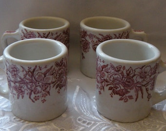 Vintage Tepco USA China Restaurant Ware Red Rose Pattern Diner Mugs