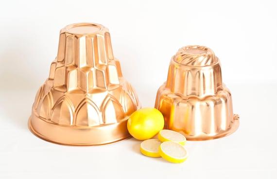 Vintage Copper Tone Blancmange Molds Tall Pudding Form Jello