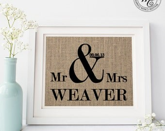 Ampersand Sign / Personalized Wedding Gift / Ampersand Burlap Print / Wedding Date / Mr & Mrs Sign / Burlap Wedding Decor / Our Wedding Date