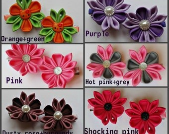 Sets of 2 hair clips alligator tipe kanzashi flower color selection