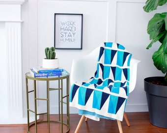 """Cotton Knitted Blanket - Blues/Ivory - """"Happy-Go-Lucky - Sky"""" - 80% Recycled Cotton Fibers"""