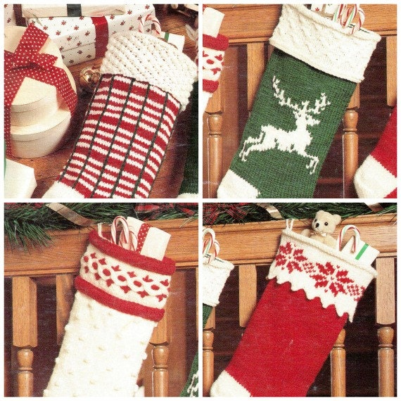 Vintage Christmas Stocking Knitting Pattern : Vintage Christmas Stockings Sock Knitting Pattern by OneRetroLady